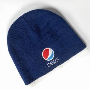 Pepsi Embroidered Logo Navy Blue Knit Beanie Cap